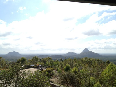 Taking in the sights of the Glass House Mountains from the Lookout