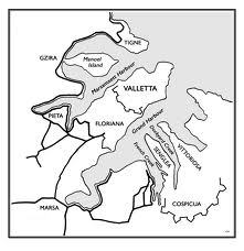 Topographical map of Grand Harbour Malta
