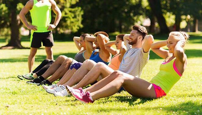 train,fit,bootcamp,people,shorts,fitness,instructor,grass,group