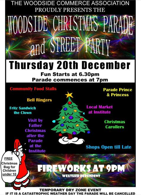 woodside christmas parade and street party 2018, community event, fun things to do, the woodsie commerce association, bell ringers, parade prince an dprincess, christmas carollers, shopping, free christmas bag, fireworks, festive season, christmas event, santa claus