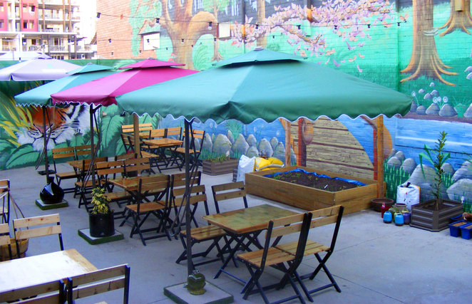 Avoid any noise form the street by eating in the back courtyard area