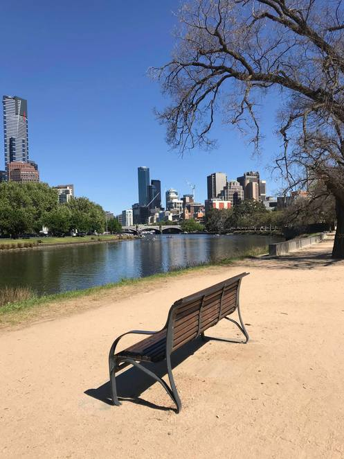Looking at Melbourne CBD from Birrung Marr