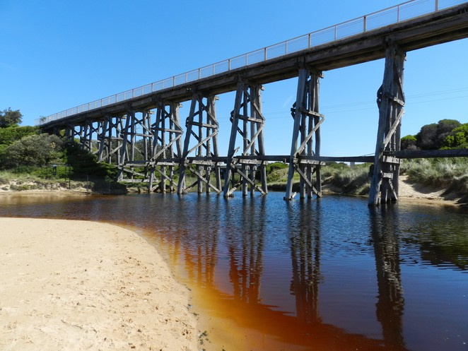 Bourne Creek, Kilcunda, trestle bridge, Bass Coast Rail Trail, heritage railways, heritage bridges, Bass Coast attractions, Bass Coast, Bass Highway, Kilcunda Beach