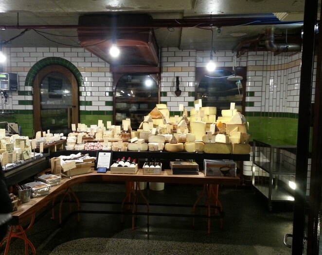 The display of Cheese at the Spring Street Cheese Cellar