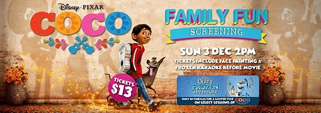 december events, canberra, 2017, limelight cinemas, family friendly, ACT, activities, frozen kareoke, coco,