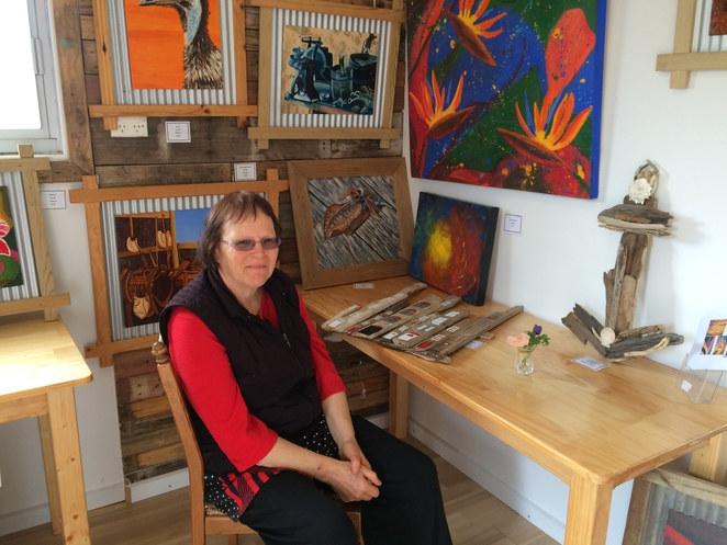 Henriette Norde with some of her works