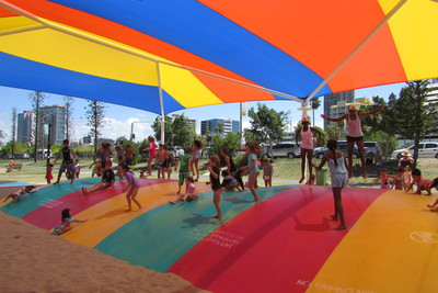 Jumping Pillow, Washington Waters Playground, Broadwater Parklands, Southport