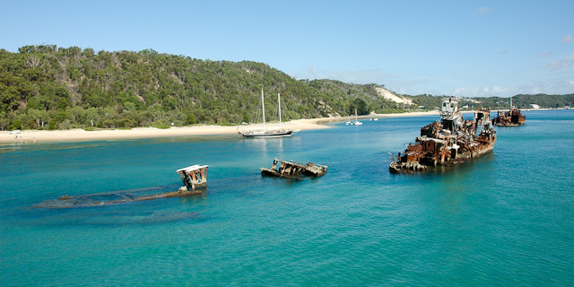 Photo of the Tangalooma Wrecks at Moreton Bay courtesy of Michael @ Flickr