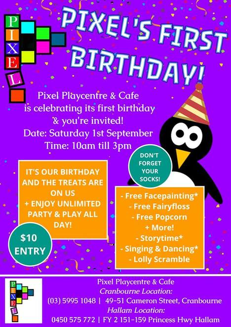 pixel playcentre first birthday