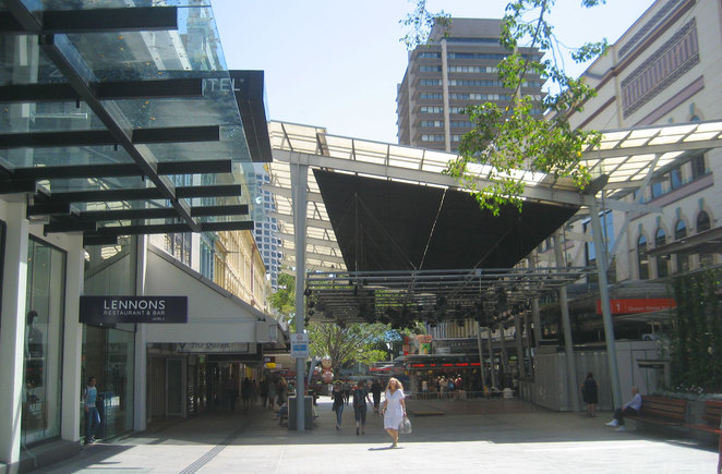 Queen Street Mall has lots of undercover shopping centres to escape the rain