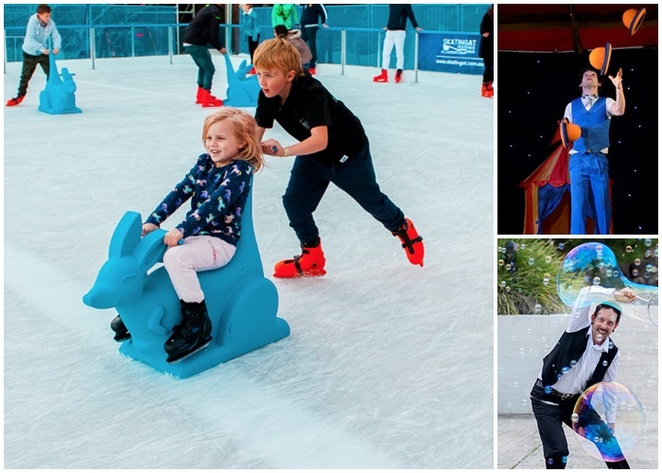 skating at, canberra, ACT, ice skating rink, outdoor icr skating, la petite grand, petrie plaza, school holidays, july, 2018, winter,