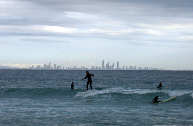 Surfers at Rainbow Bay