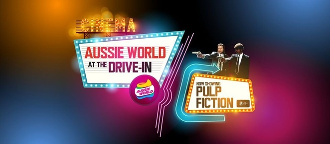 The Drive In at Aussie World, Pulp Fiction, old school, Banana Bender Pub, retro, Quentin Tarantino, John Travolta, Samuel L. Jackson, Bruce Willis, Uma Thurman, Los Angeles, hitmen, prizefighter, blankets, pillows, sleeping bags, price per car, COVID measures in place, social distance, pre-purchase tickets online, romantic evening