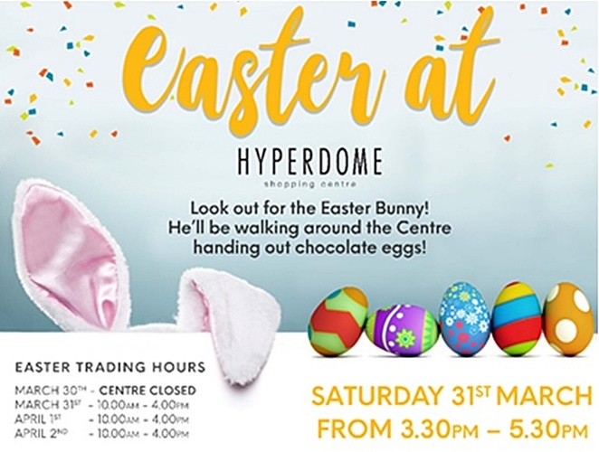 tuggeranong hyperdome, canberra, ACT, easter events, 2018, easter activities, what's on, easter long weekend, kids, bunny,