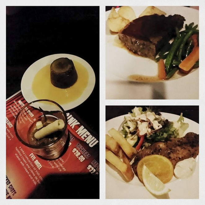 Clockwise left to right: Desserts, beef steak and fish
