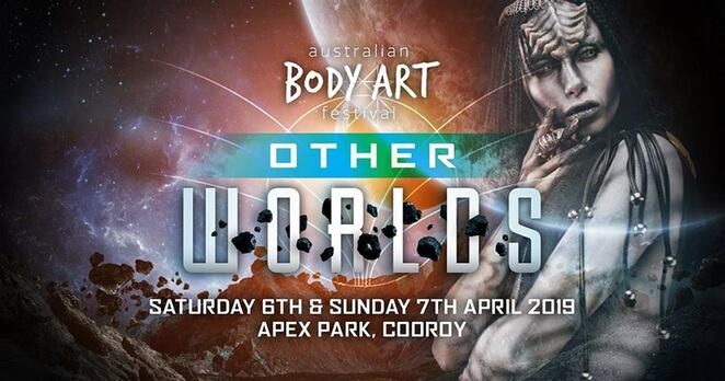 2019 Australian Body Art Festival, Other Worlds, free to spectators, Cooroy, Apex Park, body painting art event, temporary art, brush and sponge, airbrush, special effects, face painting, wearable art, photography, human canvases, Opening Night Function ticketed event, prizes, spectacular event
