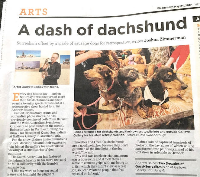 andrew baines, art, art exhibition, Dachshunds, adelaide, exhibition, dogs, short, henley beach, in the news
