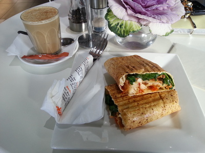 Argo's sweet chick wrap and chai latte pair perfectly for lunch