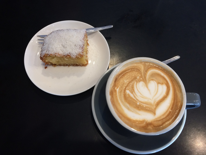 Best coffee and a deliciously moist coconut cake treat