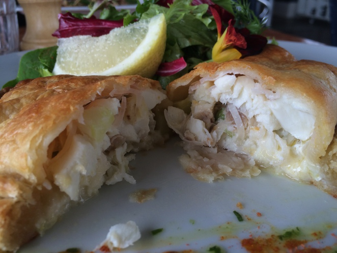 Chunky seafood pieces in a light, flakey pastry