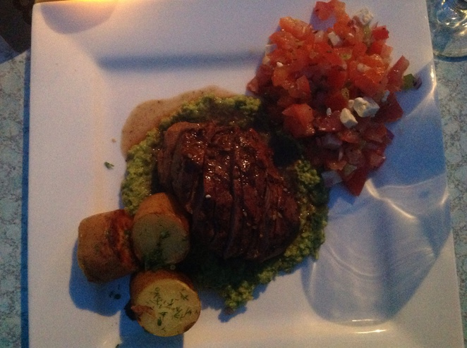 Lamb Served with minted pea puree around $30