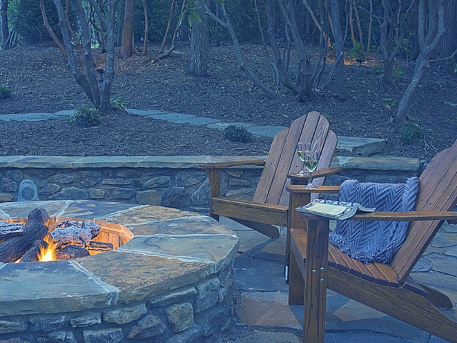 garden fire pit, sitting area