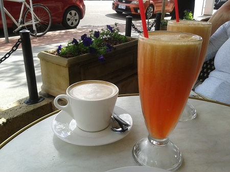 juice, coffee, breakfast, lunch, patisserie