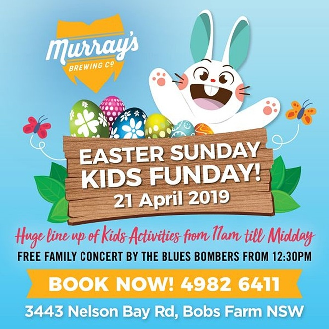 murrays, easter sunday funday, nelson bay, port stephens, things to do, easter sunday, fun for kids, whats on, easter egg hunts