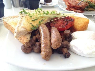 My favourite, the big brekky, eggs to my liking (poached), bacon, herb tomato, mushrooms, lamb and rosemary sausage, hash brown and toast ($19.90)