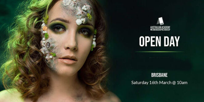 the australian academy of cinemagraphic makeup open day and student showcase, wooloongabba brisbane, professional makeup artist course, community event, career change, career opportunities, short course on basic makeup, diploma of makeup, further studies, job opportunities, students, study, education