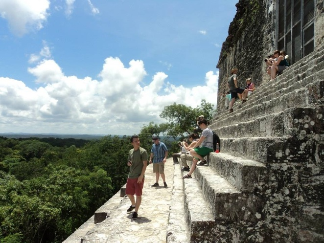 The climb to the top of temple IV rewards you with stunning views over the jungle canopy