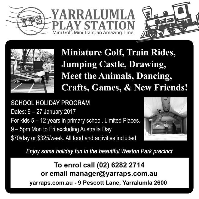 yarralumla play staion, mini golf, canberra, school holidays, ACT, summer, 2016, 2017,