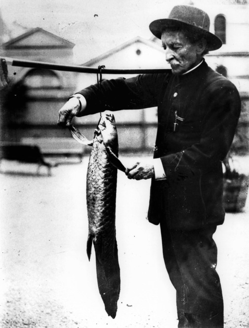 Archibald Meston with lungfish. Image from State Library of Queensland.