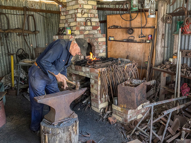 Blacksmith Blast at the South West Rail and Heritage Centre. Master craftsman, Malcolm Paine demonstrating his blacksmith skills. Photo credit: Busselton Historical Society.