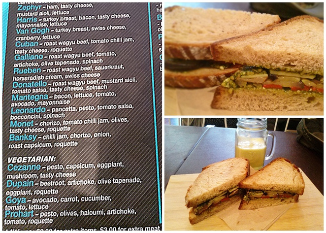 Freshly squeezed Apple and Orange juice & Cezanne sandwich, blue olive cafe, canberra, ACT, sandwiches, best sandwiches,