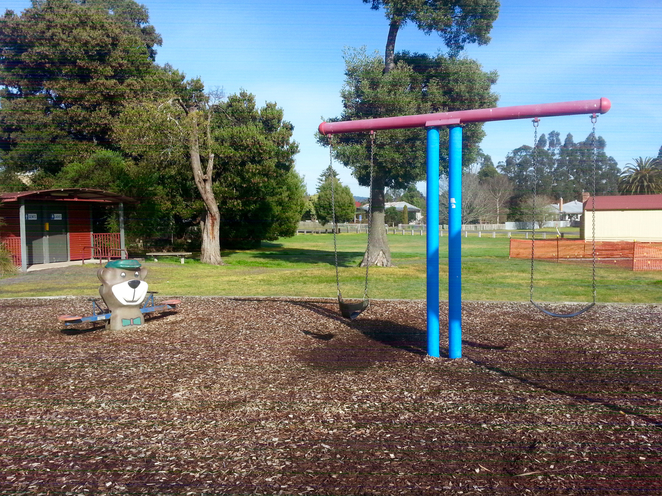 Gellibrand, Otways, Victoria, Playground, Rex Norman, Park, toilets, BBQ, picnic, toilets in gellibrand, see-saw, Yogi bear, swings, swingset, play equipment,