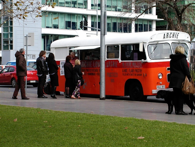 pastries, ricotta, about adelaide, pastizzi, archie the pastizzi bus, moroccan lamb, mushy peas, in adelaide, food truck, queue