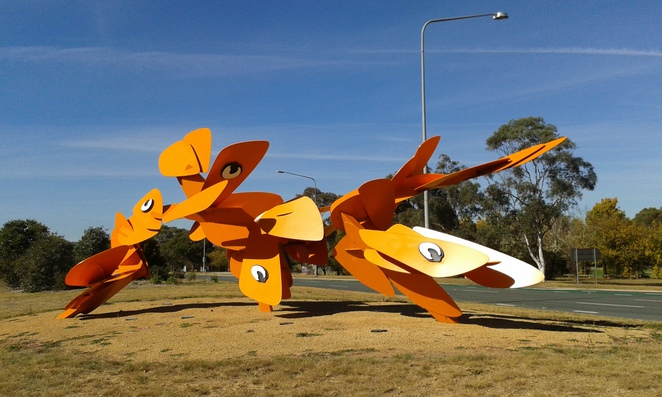 public art, canberra, boging moth descending on canberra, namadgi, tuggeranong parkway, ACT, public artworks, sculptures,