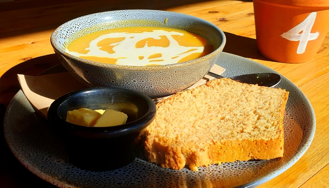 Soup, lunch, casual, views, Blue Mountains, gardens, food