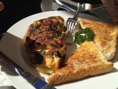 Spanish onion, spinach and cheese omelette served with toast ($15)