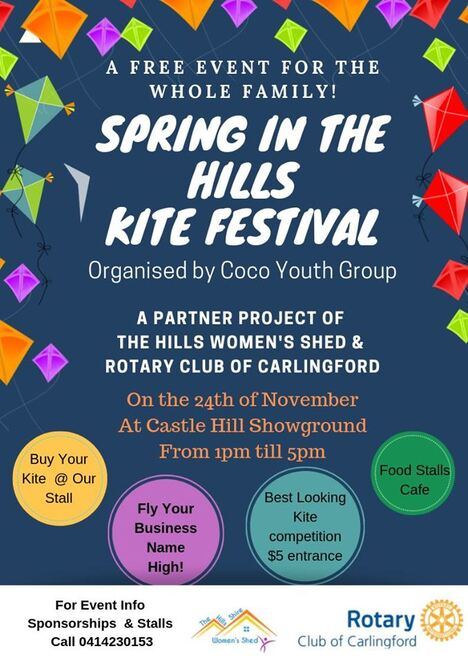 spring in the hills kite festival 2019, community event, fun things to do, coco youth group, the womens shed hills shire, carlingford rotary club, castle hill showground, free kite flying event, fun for kids, family fun, entertainment, activities