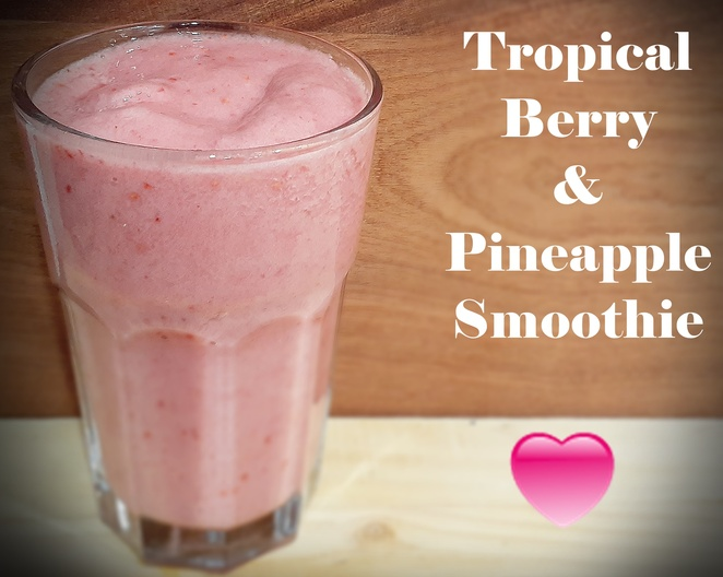 tropical, smoothies, berries, pineapple, tinned pineapple, orange juice, frozen banana, frozen raspberries, easy, smoothies, summer, kids, children, family, breakfast, weight loss, australia,