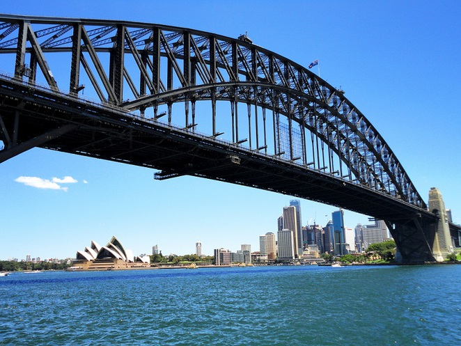 view of sydney harbour bridge, sydney opera house and dawes point