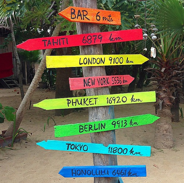 Beach signs, Zipolite, Mazunte