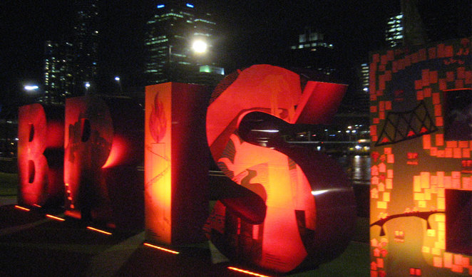The Brisbane sign's lights are constantly changing colour
