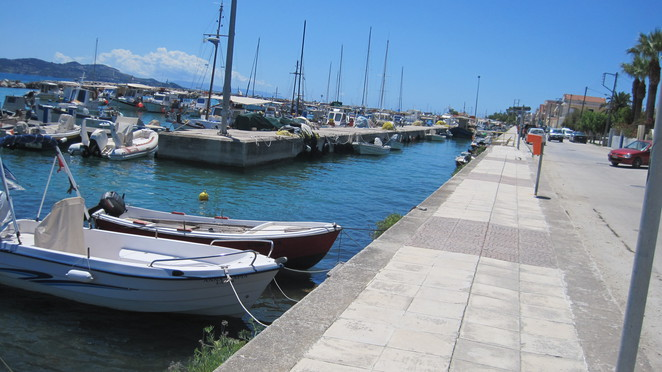 down by the harbour in lixouri
