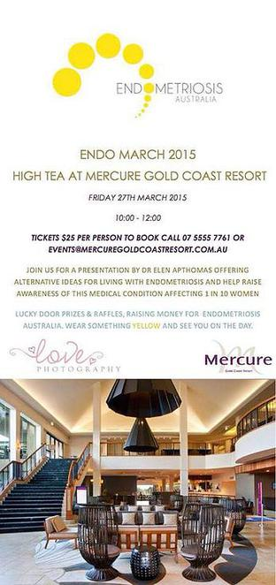 endo high tea, mercure, gold coast, endometriosis, holistic health,