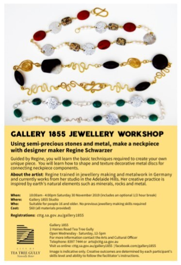 Gallery 1855 Jewellery Workshop, City of Tea Tree Gully, Gallery 1855, Regine Schwarzer, Tea Tree Gully