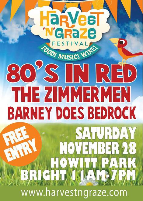 harvest n graze festival, howitt park, bright, acoustic performers, market stalls, activities, picnic, ovens river, 80's in red, the zimmermen, barney does bedrock, food, music, wine