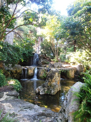 Small but picturesque waterfalls are a focal point at the John Oldham Park.